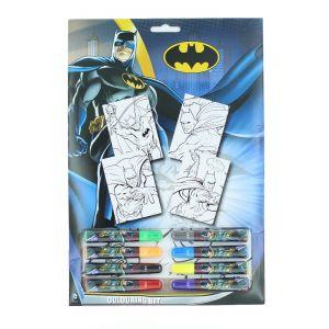 Batman Set de colorat cu markere 4 foi de colorat+8 markere