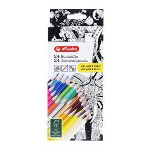 Herlitz Creioane Color Triunghiulare 24buc/set Include Auriu Si Argintiu
