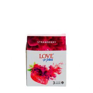 Love Plus prezervative 3 buc Strawberry
