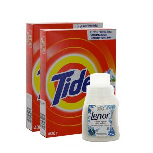 PROMO 2*Tide Detergent manual in cutie 400 g Alpine Fresh + Lenor Balsam de rufe 140 ml 5 spalari Minerali Marini